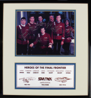 "LE ""Star Trek"" 16x5x16.5 Custom Framed Photo Display Cast-Signed by (7) with William Shatner, Leonard Nimoy, DeForest Kelley, James Doohan, Walter Koenig, George Takei, & Nichelle Nichols (Beckett LOA) at PristineAuction.com"