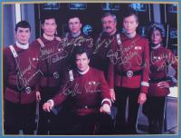"LE ""Star Trek"" 16x5x16.5 Custom Framed Photo Display Cast-Signed by (7) with William Shatner, Leonard Nimoy, DeForest Kelley, James Doohan, Walter Koenig, George Takei, & Nichelle Nichols (Beckett LOA) at PristineAuction.com"