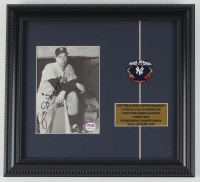 Joe DiMaggio Signed Yankees 11x12 Custom Framed Photo Display with 1943 World Series Pin (PSA LOA) at PristineAuction.com