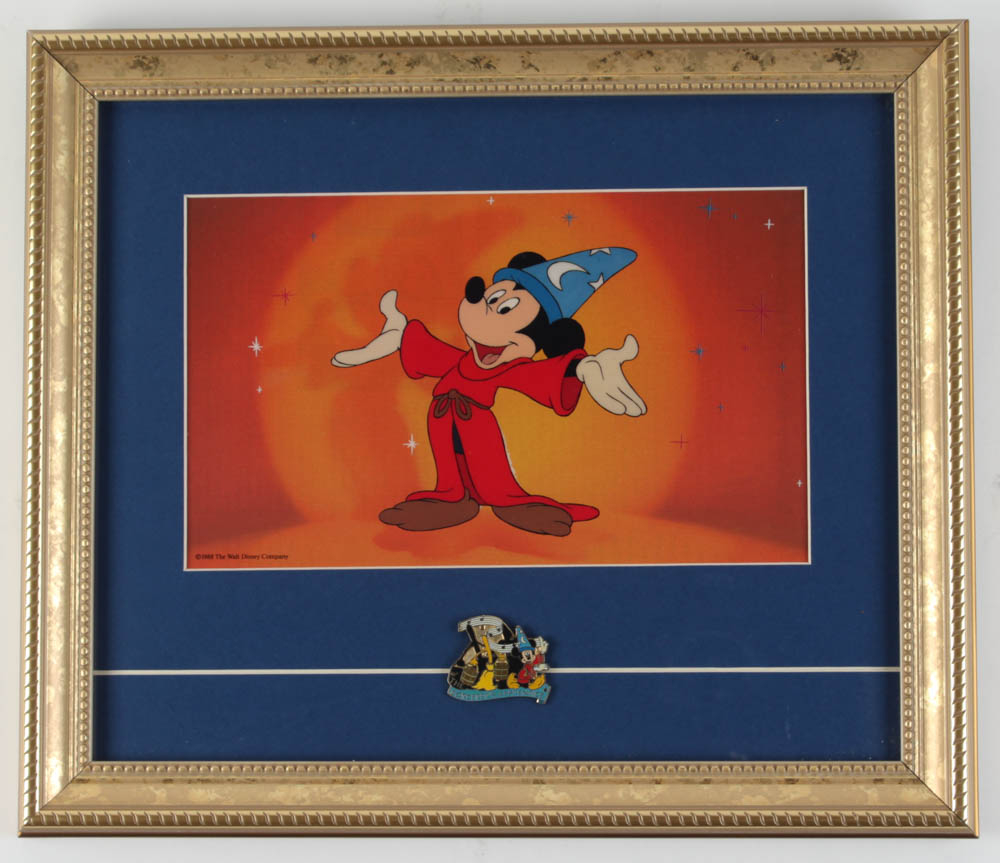 "Mickey Mouse ""The Sorcerer's Apprentice"" 12x14 Custom Framed Animation Cel Display with Vintage Disney Pin at PristineAuction.com"