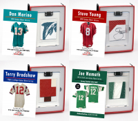 HALL OF FAME QUARTERBACKS GAME WORN JERSEY MYSTERY SWATCH BOXES! at PristineAuction.com