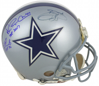 """Troy Aikman, Emmitt Smith & Michael Irvin Signed Cowboys Full-Size Authentic On-Field Helmet Inscribed """"HOF 2007"""" & """"HOF '06"""" (PSA COA) at PristineAuction.com"""