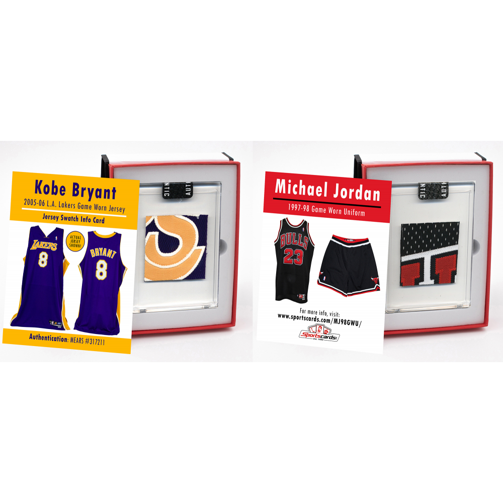 AUCTION - KOBE BRYANT & MICHAEL JORDAN GAME WORN JERSEY MYSTERY SWATCH BOXES!