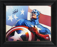 "Stan Lee Signed ""Captain America"" 20.5x24.5 Custom Framed Photo On Canvas (PSA COA) at PristineAuction.com"