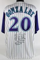 Luis Gonzalez Signed Diamondbacks Jersey with (8) Career Inscriptions (Beckett COA) at PristineAuction.com