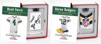 BRETT FAVRE & AARON RODGERS PACKERS GAME WORN MYSTERY JERSEY SWATCH BOXES! at PristineAuction.com