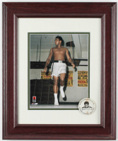 Muhammad Ali 14x17 Custom Framed Photo Display with 1960s Pin at PristineAuction.com