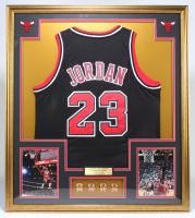 Michael Jordan Bulls 32x36 Custom Framed Jersey With (4) NBA Championship Pins at PristineAuction.com