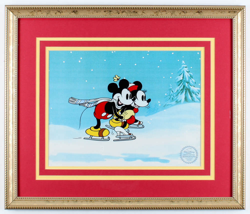 """Walt Disney's LE Mickey & Minnie Mouse """"On Ice"""" 17x20 Custom Framed Animation Serigraph Display at PristineAuction.com"""
