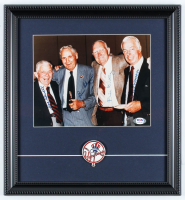 Yankees 14x15 Custom Framed Photo Display with Yankees Pin Signed by (4) with Joe DiMaggio, Bill Dickey, Joe Sewell & Ben Chapman (PSA LOA) at PristineAuction.com