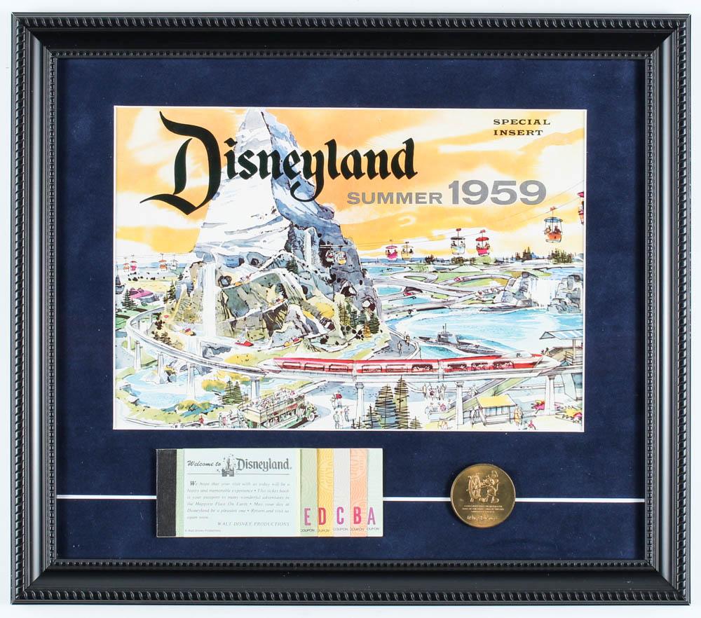 Disneyland 14x16 Custom Framed Poster Display with Vintage Summer 1959 Original Ticket Book & Bronze Souvenir Coin at PristineAuction.com
