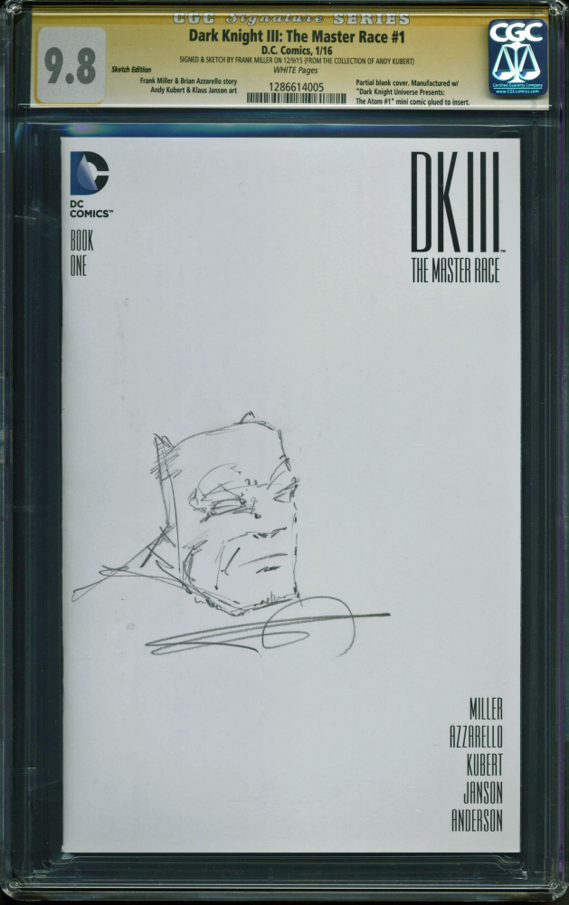 """Frank Miller Signed 2011 """"Dark Knight III: The Master Race"""" Sketch Edition Issue #1 DC Comic Book with Hand-Drawn Sketch (CGC 9.8) at PristineAuction.com"""