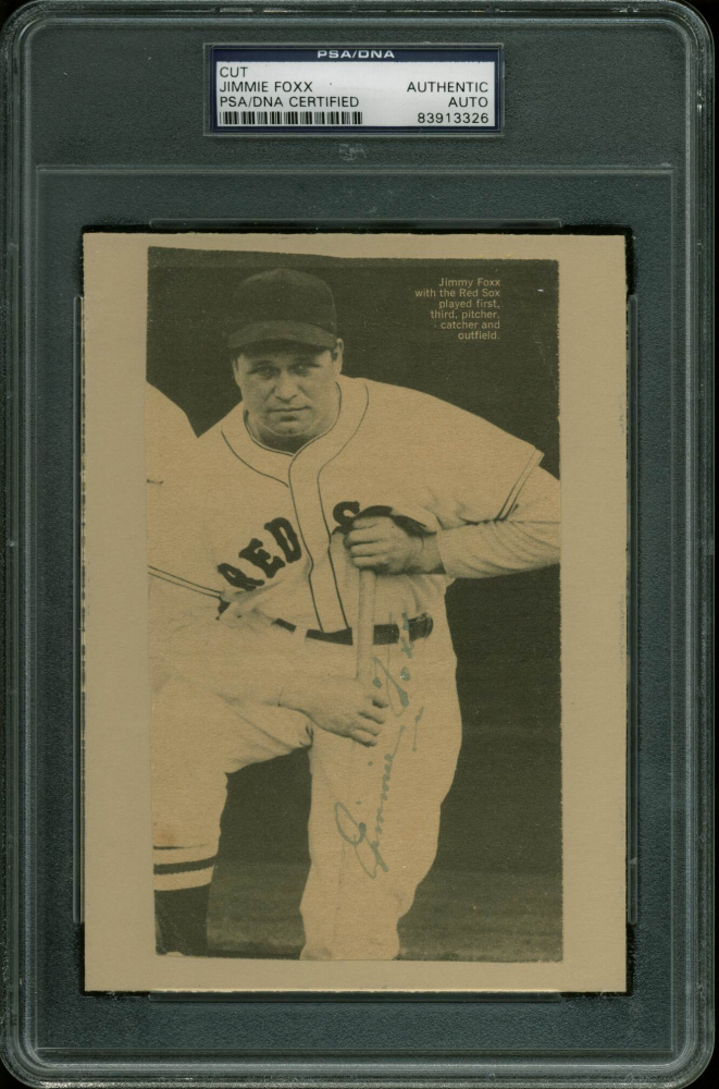 Jimmie Foxx Signed Red Sox Cut (PSA Encapsulated) at PristineAuction.com