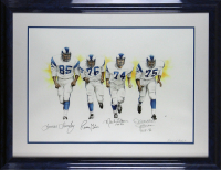 """Rams """"Fearsome Foursome"""" 27x34.5 Custom Framed Lithograph Signed by (4) with Deacon Jones, Merlin Olsen, Rosey Grier & Lamar Lundy Inscribed """"HOF 82"""" (Beckett LOA) at PristineAuction.com"""