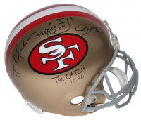 "Joe Montana & Dwight Clark Signed 49ers Full-Size Helmet Inscribed ""The Catch"" & ""1-10-82"" with Hand-Drawn Play (Beckett COA) at PristineAuction.com"