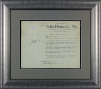 John Hancock Signed 1790 23.5x26.5 Custom Framed Document Display (JSA LOA) at PristineAuction.com
