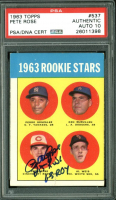 "Pete Rose Signed Pedro Gonzalez RC / Ken McMullen RC/ Al Weis RC 1963 Topps #537 Rookie Stars Inscribed ""63 ROY"" & ""Hit King"" (PSA Encapsulated) at PristineAuction.com"
