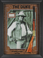 "John Wayne Signed 33x45 Custom Framed Shadowbox Cut Display with Replica Rifle  Inscribed ""1968"" (JSA LOA) at PristineAuction.com"
