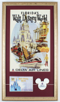Disney World Delta 15x26 Custom Framed Poster Display with Vintage Delta Disney World Employee Lapel Pin & Disney Photo Portfolio at PristineAuction.com