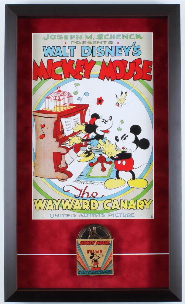 "Walt Disney's ""Mickey Mouse: The Wayward Canary"" 14.5x25 Custom Framed Print Shadowbox Display with Vintage 8mm Disney Film Reel at PristineAuction.com"