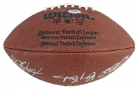"""Official NFL Football Signed by (5) with Walter Payton, Emmitt Smith, Barry Sanders, Frank Gore & Adrian Peterson Inscribed """"NFL Top 5 Leading Rushers"""" (Beckett LOA) at PristineAuction.com"""