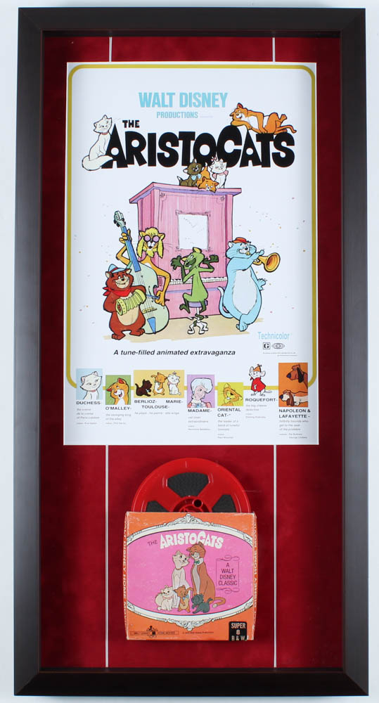 "Walt Disney's ""The Aristocats"" 14.5x28.75 Custom Framed Print Shadowbox Display with Vintage 8mm Disney Film Reel at PristineAuction.com"