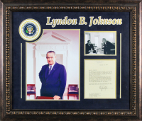Lyndon B. Johnson Signed 24.75x28.75 Custom Framed Letter Display (Beckett LOA) at PristineAuction.com