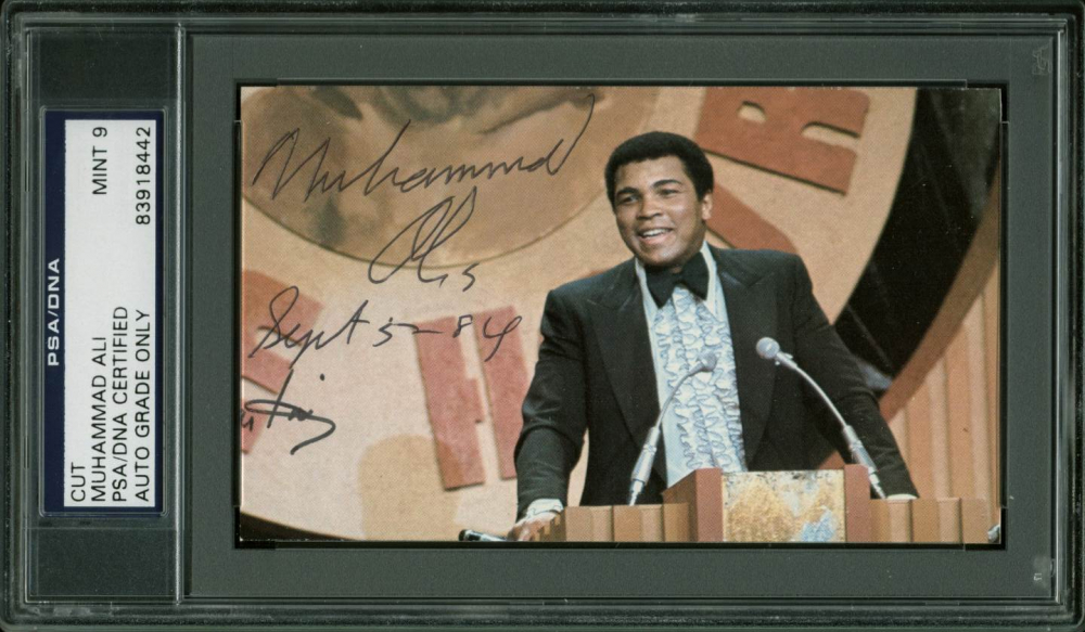 """Muhammad Ali Signed 3x5 Cut Inscribed """"Sept 5, 84"""" (PSA Encapsulated) at PristineAuction.com"""