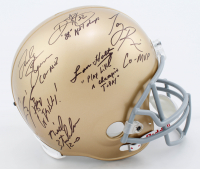Notre Dame Fighting Irish Full-Size Helmet Signed by (6) with Lou Holtz, Ricky Watters, Tony Rice with Multiple Inscriptions (PSA LOA) at PristineAuction.com