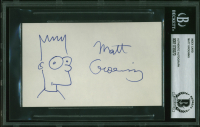 Matt Groening Signed 3x5 Index Card with Hand-Drawn Simpsons Sketch (BGS Encapsulated) at PristineAuction.com
