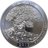 "2013 America The Beautiful ""Great Basin"" 5 oz. .999 Fine Silver Quarter-Dollar Coin at PristineAuction.com"