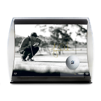 "Tiger Woods Signed ""Line it Up"" 5.5x7x11 LE Curve Display (UDA COA) at PristineAuction.com"