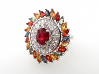 3.94ct Natural Ruby & Multi-Colored Sapphire Ring (GAL Certified) at PristineAuction.com