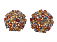 9.65ct Natural Multi-Colored Sapphire & Ruby Earrings (GAL Certified) at PristineAuction.com