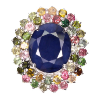 10.69ct Natural Blue Sapphire & Multi-Colored Sapphire Ring (GAL Certified) at PristineAuction.com