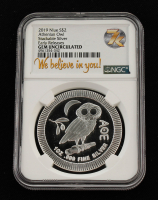 2019 Niue 1 oz Silver $2 Athenian Owl Stackable $2 Coin (NGC GEM Uncirculated) at PristineAuction.com