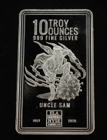 10 Troy Ounces .999 Uncle Sam Silver Bullion Bar at PristineAuction.com