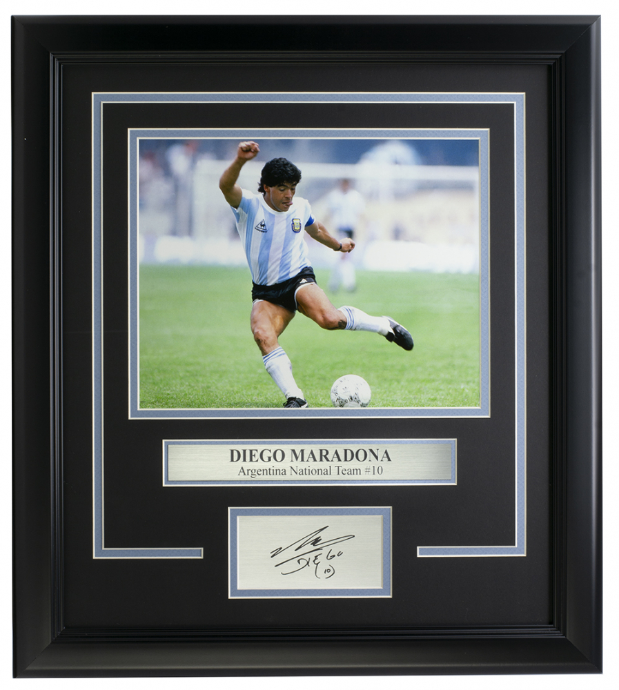 Diego Maradona Argentina 14x18 Custom Framed Photo Display at PristineAuction.com