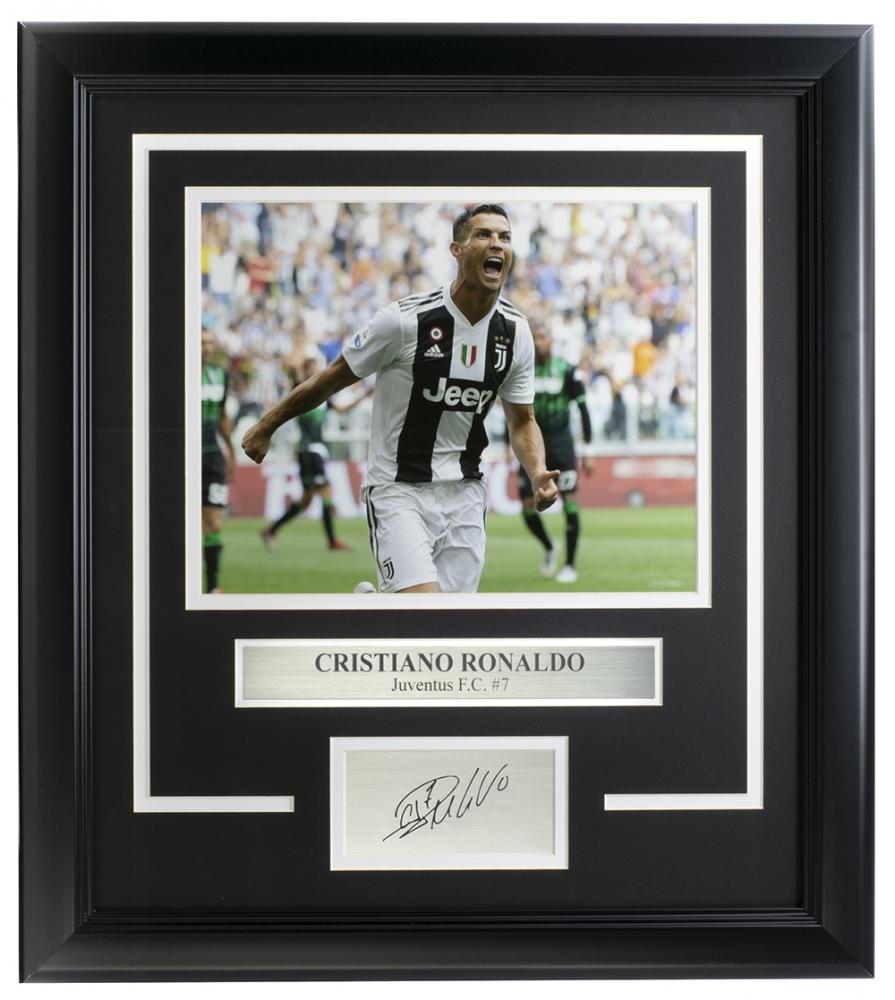 Cristiano Ronaldo Juventus 14x18 Custom Framed Photo Display at PristineAuction.com