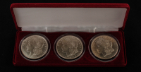 Set of (2) Morgan Silver Dollars with 1921, 1921-S, 1921-D with Display Case at PristineAuction.com