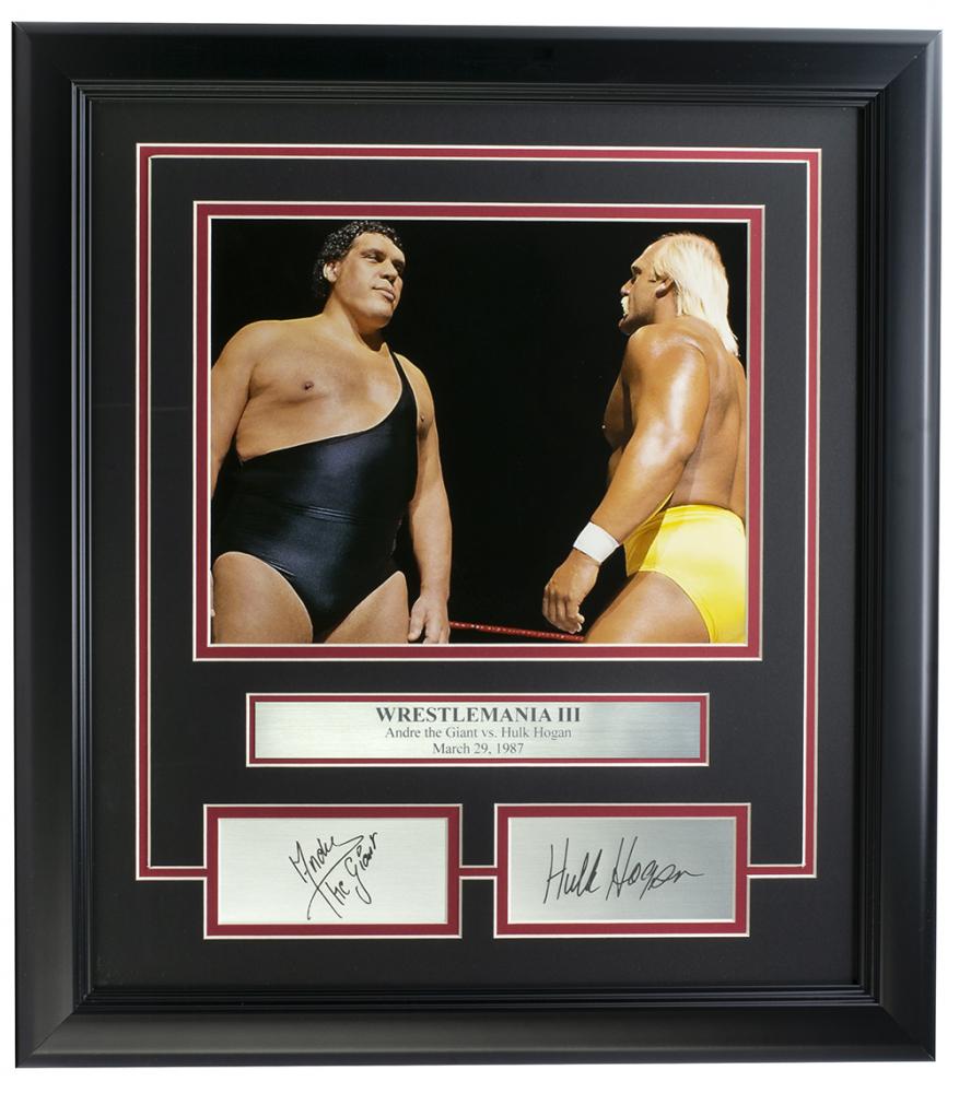Andre The Giant & Hulk Hogan 14x18 Custom Framed Photo Display at PristineAuction.com