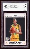 Kevin Durant 2007-08 Topps Rookie Set #2 RC (BCCG 10) at PristineAuction.com