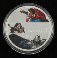 2016 Batman vs. Superman: Dawn of Justice $30 Thirty Dollar 2 oz Fine Silver Colorized Coin with Display Box at PristineAuction.com