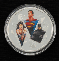 2016 Batman vs. Superman: Dawn of Justice $30 Thirty Dollar 1 oz Fine Silver Colorized Coin with Display Box at PristineAuction.com