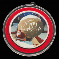 "2016 1 Ounce .999 Fine Silver Colorized ""Merry Christmas"" Bullion Round at PristineAuction.com"