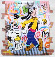 "Jozza Signed ""Goof's New Friend"" 48x48 Original Mixed Media on Board at PristineAuction.com"