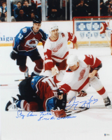 """Darren McCarty Signed Red Wings 16x20 Photo Inscribed """"Stay Down Turtle"""" & """"B**** A** Beatdown"""" (Beckett COA) at PristineAuction.com"""