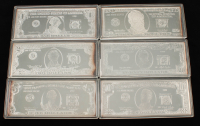 Set of (6) 1998 Quarter-Pound Silver Proof Bullions With George Washington $1 One Dollar, Andrew Jackson $20 Twenty Dollar, Abraham Lincoln $5 Five Dollar, Ulysses S. Grant $50 Fifty Dollar at PristineAuction.com