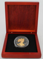 1991 Silver Eagle $1 Dollar 24kt Gold Coin in Case at PristineAuction.com