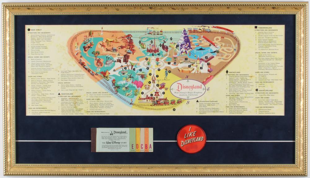1959 Vintage Disneyland 15x26 Custom Framed Map Display With (1) Ticket Booklet & (1) Vari-Vue Disneyland Pin at PristineAuction.com